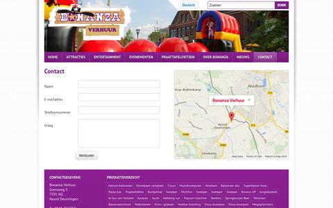 Screenshot of Contact Page bonanza-verhuur.nl - Contact   Bonanza Verhuur - captured Oct. 29, 2014