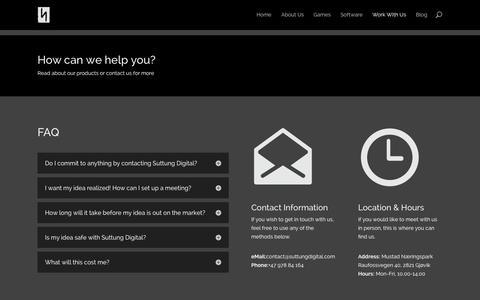 Screenshot of Contact Page suttungdigital.com - Work With Us | Suttung Digital - captured Sept. 30, 2014