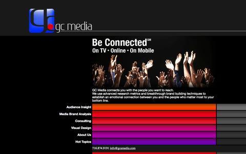 Screenshot of Home Page gcamedia.com - gc media   news & media consulting   media brand management - captured Oct. 1, 2014