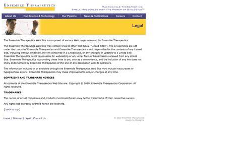 Screenshot of Terms Page ensembletx.com - Ensemble Therapeutics - captured Oct. 2, 2014