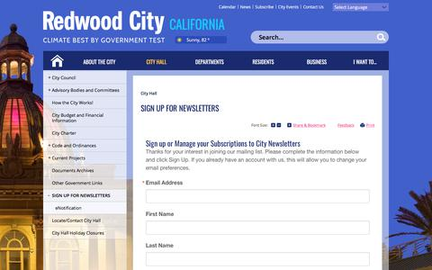 Screenshot of Signup Page redwoodcity.org - City of Redwood City : Sign up for Newsletters - captured June 23, 2017