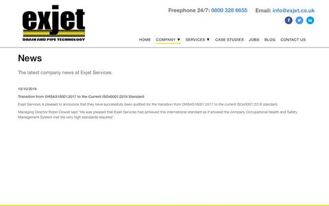 Screenshot of Press Page exjet.co.uk - News   Audits, Accreditations, Staff and More   Exjet - captured Nov. 11, 2018