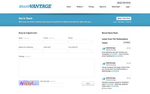 Screenshot of Contact Page sellervantage.com - Contact Us :: SellerVantage - Multi-Channel Consignment and Inventory Management Solutions - captured Oct. 27, 2014