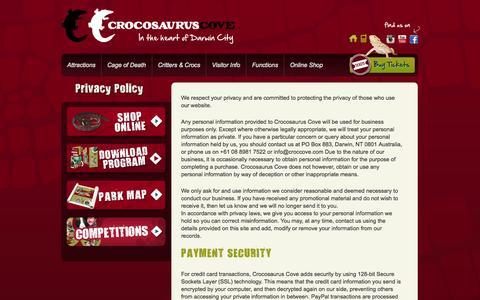 Screenshot of Privacy Page crocosauruscove.com - Privacy Policy |  | Crocosaurus CoveCrocosaurus Cove - captured Sept. 30, 2014