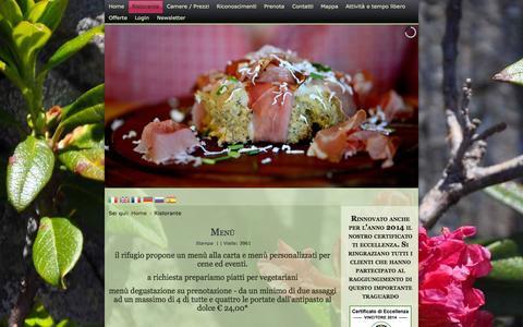 Screenshot of Menu Page rifugioserot.eu - Ristorante - Rifugio Serot - SITO UFFICIALE - captured Oct. 6, 2014