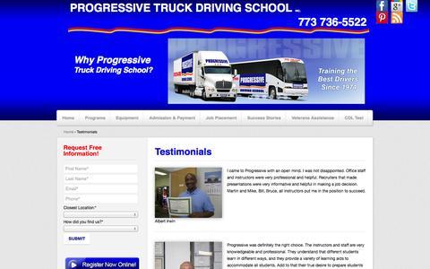 Screenshot of Testimonials Page cdltruck.com - Testimonials, Students, Success, CDL | Progressive Truck Driving School - captured Oct. 3, 2014