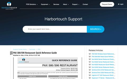 Screenshot of Support Page harbortouch.com - PAX S80/S90 Restaurant Quick Reference Guide : Harbortouch Support Center - captured Oct. 9, 2018