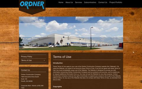 Screenshot of Terms Page ordner.com - Ordner Construction Company - Terms of Use - captured Oct. 26, 2014