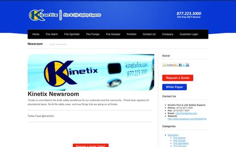 Screenshot of Press Page kinetixfire.com - Fire Alarm Industry News and Information byKinetix Fire - captured Oct. 6, 2014