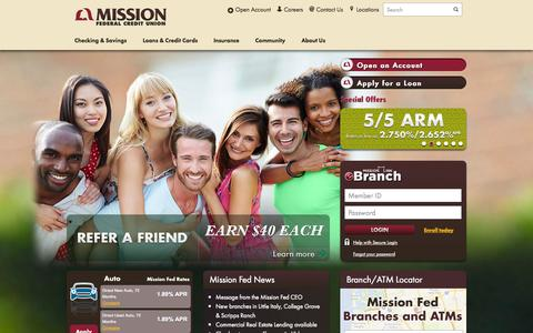 Screenshot of Home Page missionfed.com - San Diego Loans, Auto Loans and More with Mission Federal Credit Union - captured Sept. 23, 2014