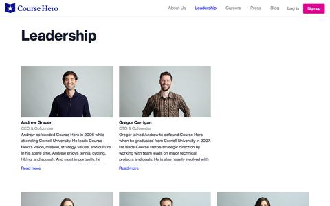Screenshot of Team Page coursehero.com - Course Hero - Leadership - captured Jan. 19, 2020