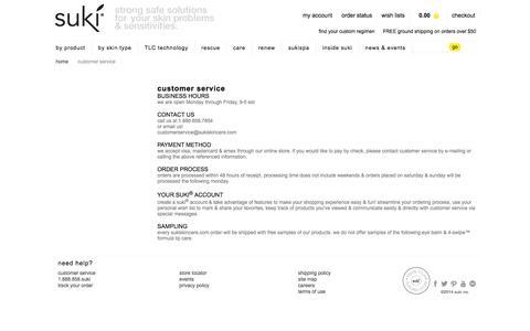 Screenshot of Support Page sukiskincare.com - customer service - captured Sept. 23, 2014