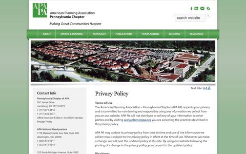 Screenshot of Privacy Page planningpa.org - Privacy Policy - APA - Pennsylvania Chapter - captured July 21, 2017