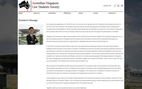 Screenshot of Home Page auslss.net - Australia Singapore Law Student Society (AUSLSS) - Home - captured Oct. 4, 2014