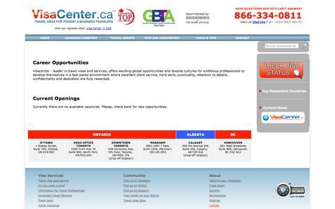 Screenshot of Jobs Page visacenter.ca - VisaCenter.ca: International Travel Visa Service - captured Oct. 26, 2014
