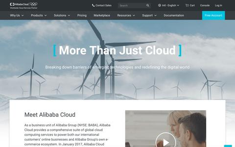 Screenshot of About Page alibabacloud.com - Why Alibaba Cloud? Global Emerging Technologies Redefining the Digital World - captured Oct. 18, 2018