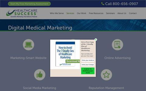 Screenshot of Services Page healthcaresuccess.com - Healthcare Digital Marketing Agency | Medical SEO, PPC & Social Media - captured Feb. 4, 2017
