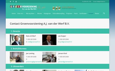 Screenshot of Contact Page groenwerf.nl - Contact - Groenvoorziening A.J. van der Werf B.V. - captured Nov. 15, 2016