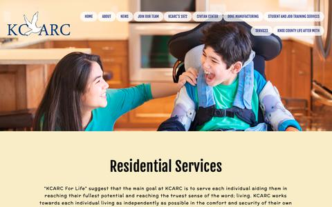 Screenshot of Services Page knoxcountyarc.com - Residential Services — KCARC - captured Dec. 20, 2018
