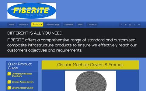 Screenshot of Products Page fiberite.co.za - FIBERITE - Composite Manhole Covers and Frames - captured Jan. 8, 2016
