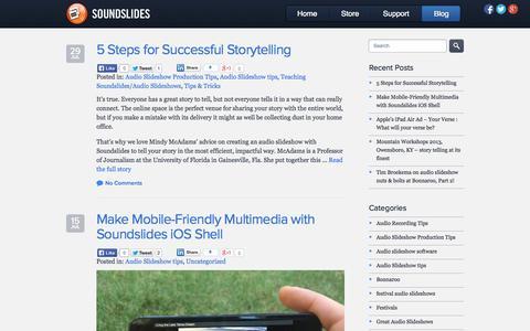 Screenshot of Blog soundslides.com - Soundslides Blog - Audio Slideshow Examples, Tutorials, Interviews, Teaching Tips - captured Sept. 19, 2014