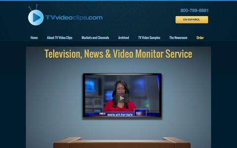 Screenshot of Home Page tvvideoclips.com - Television News - Video Monitor Service - captured Sept. 30, 2014