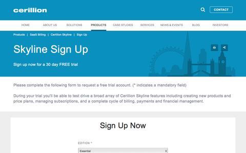 Screenshot of Signup Page cerillion.com - Recurring Billing Free Trial | Subscription Billing Sign Up | Cerillion - captured July 1, 2017