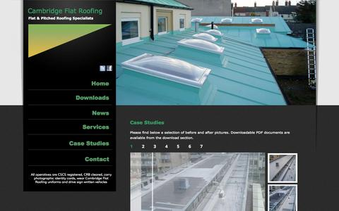 Screenshot of Case Studies Page cambridgeflatroofing.com - Cambridge Flat Roofing - Flat and Pitched Roof Maintenance Specialists » Flat Roofing » Pitched Roofing » Metal Roofing - captured Oct. 1, 2014