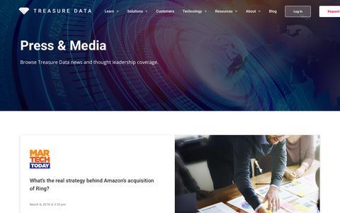 Screenshot of Press Page treasuredata.com - News - Treasure Data - captured April 24, 2018