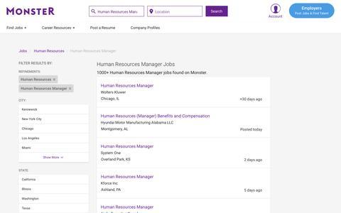 Screenshot of Jobs Page monster.com - Human Resources Manager Jobs - Search Human Resources Manager Job Listings | Monster - captured May 17, 2017