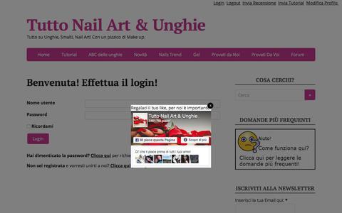 Screenshot of Login Page nailarteunghie.it - Benvenuta! Effettua il login! | Tutto Nail Art & Unghie - captured Oct. 15, 2017