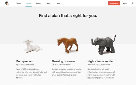 Screenshot of Pricing Page mailchimp.com - Pricing | MailChimp - captured Sept. 18, 2014
