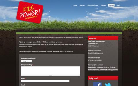 Screenshot of Contact Page kidspower.nl - Contact | KidsPower sportkampen - captured Sept. 30, 2014