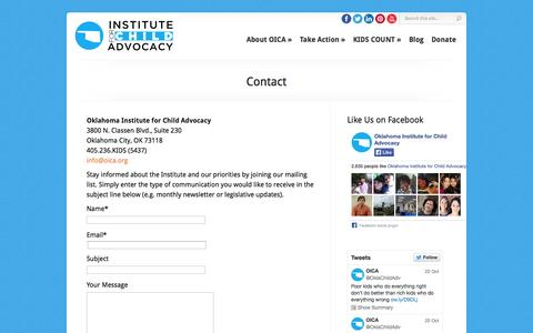 Screenshot of Contact Page oica.org - Contact - OICA - Oklahoma Institute for Children Advocacy | OICA - Oklahoma Institute for Children Advocacy - captured Oct. 26, 2014