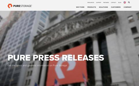 Screenshot of Press Page purestorage.com - Press Room: Data Storage News Releases and Announcements | Pure Storage - captured May 26, 2018