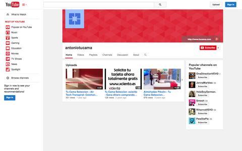 Screenshot of YouTube Page youtube.com - antoniotucama  - YouTube - captured Oct. 25, 2014