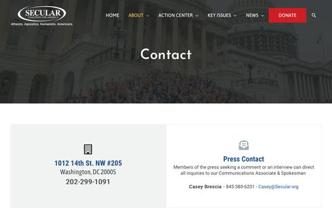 Screenshot of Contact Page secular.org - Contact Us - Secular Coalition for America - captured Dec. 20, 2018