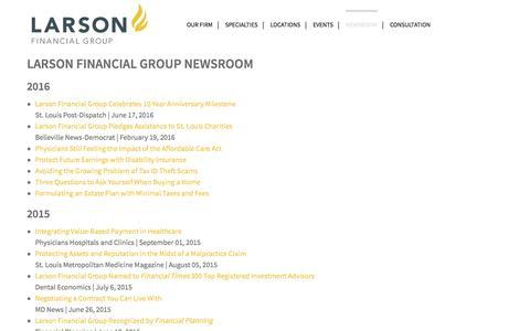 Screenshot of Press Page larsonfinancial.com - LARSON FINANCIAL GROUP NEWSROOM - Larson Financial - captured July 11, 2016
