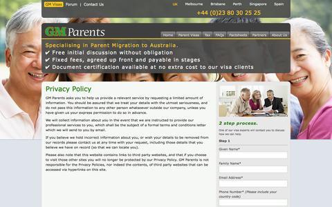 Screenshot of Privacy Page gm-parent-visas.com - Privacy Policy | GM Parent Visas - captured Oct. 1, 2014