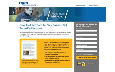 Screenshot of Landing Page tycois.com - Download the Don't Let Your Business Get Burned White Paper | TycoIS - captured Oct. 27, 2014
