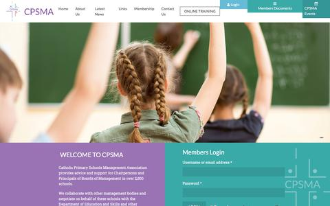 Screenshot of Home Page cpsma.ie - Catholic Primary School Management Association - captured Feb. 5, 2018