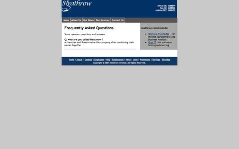 Screenshot of FAQ Page heathrow.co.nz - Frequently Asked Questions - captured Sept. 30, 2014