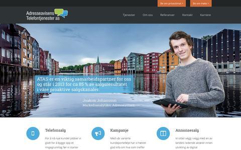 Screenshot of Home Page telefontjenester.no - Adresseavisens Telefontjenester AS - captured Oct. 4, 2014