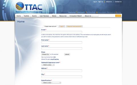 Screenshot of Signup Page telehealthtechnology.org - Home | National Telehealth Technology Assessment Resource Center - captured Oct. 6, 2014