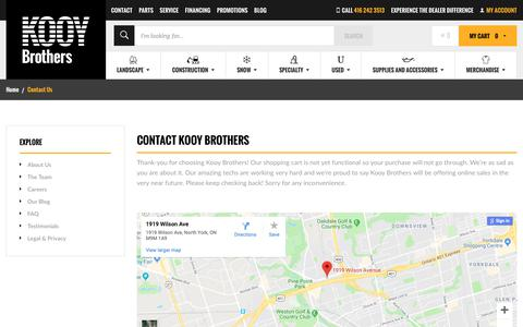 Screenshot of Contact Page kooybros.com - Contact Kooy Brothers | Lawn Equipment | Snow Removal Equipment | Construction Equipment | Toronto Ontario | Kooy Brothers - captured Oct. 16, 2018