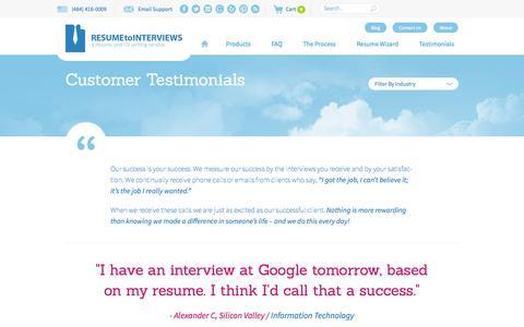Screenshot of Testimonials Page resumetointerviews.com - Testimonials - Resume to Interviews - captured Sept. 22, 2014