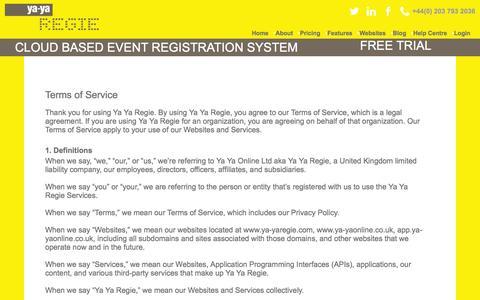Screenshot of Terms Page ya-yaregie.com - Terms & Conditions : Ya-Ya Regie - captured July 21, 2016