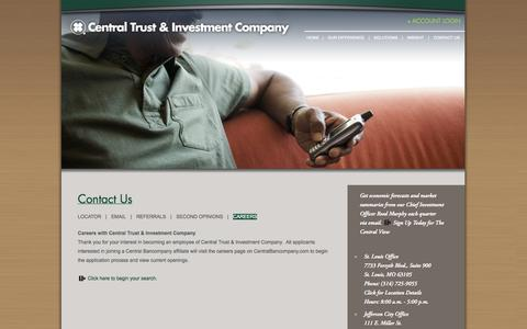 Screenshot of Jobs Page centrustco.com - Financial Planning Careers | Central Trust & Investment Company - captured Oct. 2, 2014