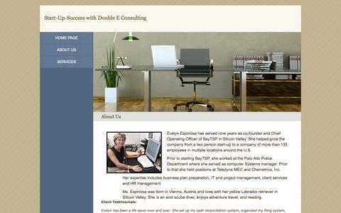 Screenshot of About Page start-up-success.com - Double E Consulting - About Us - captured Oct. 5, 2014