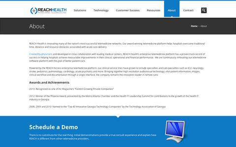 Screenshot of About Page reachhealth.com - REACH Health – About - captured Sept. 10, 2014